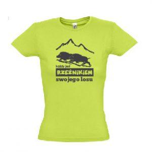 """Koszulka damska """"Każdy jest Rzeźnikiem swojego losu"""" zielona"""